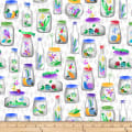 Blank Quilting Bugs Galore! Bugs In Jars White