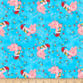Holiday Beach Flamingos With Lights Bue