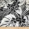 Trans-Pacific Textiles Hawaiian Monstera Plumeria Black