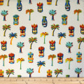 Trans-Pacific Textiles Hawaiian Tiki Palm White