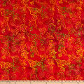 Anthology Batiks Celebration Falling Leaves Red