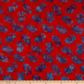 Anthology Fabrics Cow'S Skull Art Inspired Batik Paisley Red