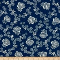 Abigail Blue Trellis Rose Navy