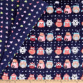 Plush Fleece 2 Sided Owl Heart Navy