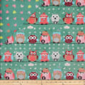 Plush Fleece 2 Sided Owl Heart Sage