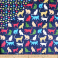 Plush Fleece 2 Sided Cats Navy