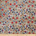 Plush Fleece 2 Sided Dog/Ball/Star Beige