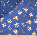 Plush Fleece 2 Sided Dogs/Bones Blue