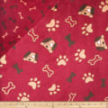Plush Fleece 2 Sided Dogs/Bones Bordeaux