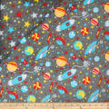 Plush Fleece 2 Sided Space Star Grey