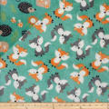 Plush Fleece 2 Sided Fox/Forest Turquoise