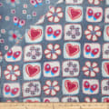 Plush Fleece 2 Sided Flower Heart Grey