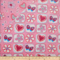 Plush Fleece 2 Sided Flower Heart Pink