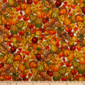 QT Fabrics  Autumn Bounty Harvest Fruits & Vegetables Cream