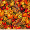 QT Fabrics  Autumn Bounty Harvest Fruits & Vegetables Black
