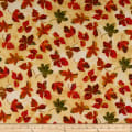 QT Fabrics  Autumn Bounty Tossed Leaves Cream