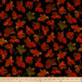 QT Fabrics  Autumn Bounty Tossed Leaves Black