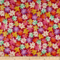 QT Fabrics  Callie Packed Floral Abstract Fuchsia