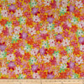 QT Fabrics  Callie Packed Floral Abstract Yellow