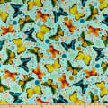 QT Fabrics  Fly Free Tossed Butterflies Blue