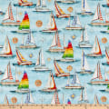 QT Fabrics  Smooth Sailing Sailboats Light Blue
