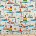 QT Fabrics  Smooth Sailing Sailboats Light Cream