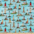QT Fabrics  Smooth Sailing Lighthouses Turquoise