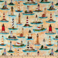 QT Fabrics  Smooth Sailing Lighthouses Butterscotch