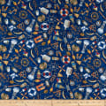 QT Fabrics  Smooth Sailing Nautical Toss Navy