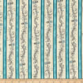 QT Fabrics  Amazing Grace Decorative Scroll Stripe Teal