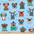 QT Fabrics Ink & Arrow Chilly Dogs Winter Dogs Blue