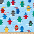 QT Fabrics Ink & Arrow Chilly Dogs Fire Hydrants Blue