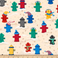 QT Fabrics Ink & Arrow Chilly Dogs Fire Hydrants Cream