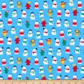 QT Fabrics Ink & Arrow Chilly Dogs Winter Dogs & Fire Hydrants Blue