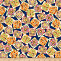 QT Fabrics  Dandi-Lions Tossed Lion Patch Navy