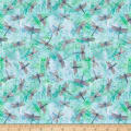 QT Fabrics Fresh Catch Dragonflies Light Turquoise