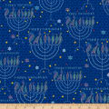 QT Fabrics Happy Hanukkah Menorahs Navy