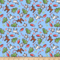 QT Fabrics Reindeer Antics Christmas Cookie Toss Light Blue