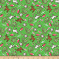 QT Fabrics Reindeer Antics Christmas Cookie Toss Green