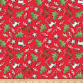 QT Fabrics Reindeer Antics Christmas Cookie Toss Red