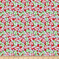 QT Fabrics Reindeer Antics Mints Red