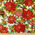 Christmas Joy Poinsettia Cream With Metallic