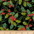 Christmas Joy Holly Allover  Black With Metallic