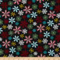 Yuletide Cheer Snowflakes Black