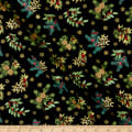 Andover/Makower UK Deck the Halls Foliage Scatter Black