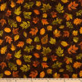 Timeless Treasures Metallic Autumn Palette Falling Leaves Brown