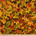 Timeless Treasures Metallic Autumn Palette Allover Leaves Brown
