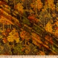 Timeless Treasures Metallic Autumn Palette Fall Trees Brown