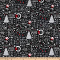 Timeless Treasures Let It Snow Christmas Chalkboard Black