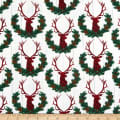 Timeless Treasures Let It Snow Deer In Holly Milk